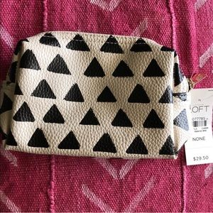 loft faux leather mini cosmetic pouch